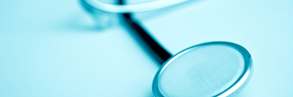 Doctor stethoscope close up, healt care industry equipment.